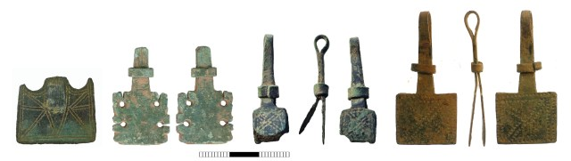 Medieval page holders: terminal from a composite example (NMS-D7FBF0, left); with rare, openwork terminals (WAW-112003, centre left); with small, square terminals and slide (SUR-08E177, centre right); with rectangular terminals and slide (SWYOR-272F62, right). Copyright: Norfolk County Council; Birmingham Museums Trust; Surrey County Council; West Yorkshire Archaeology Service CC-BY-SA licence)