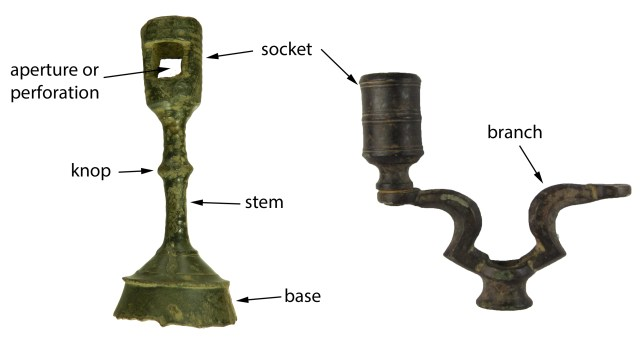 The different parts of a candle-holder. LVPL-417C75 (left) and SWYOR-25808C (right).