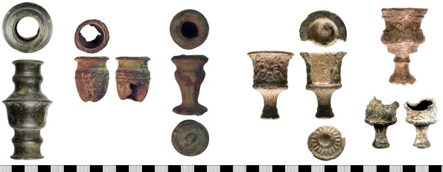 Candle-holder fragments of late 17th- or 18th-century date. Left to right: WILT-C6F1E8, NLM-3C6BE4, NLM-13DB96, WMID-7F30A2, CORN-F86F80 (above), YORYM-215DD0 (below).