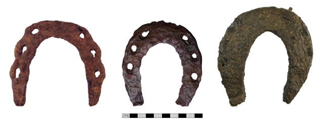 Medieval horseshoes: of Clark type 2 (left, SOMDOR198); of Clark type 3 (centre, PUBLIC-D24EF7); of Clark type 4 (right, HAMP-F0EA17). Copyrights: The Portable Antiquities Scheme; All rights reserved; Winchester Museum Service; CC-BY-SA licence)
