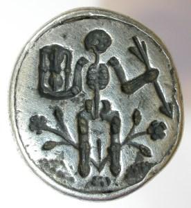 Seal matrix depicting a skeleton