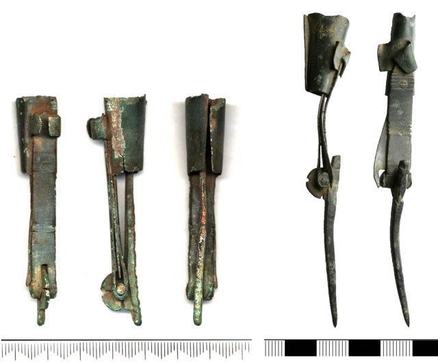 Folding candlesticks from West Stow, Suffolk (SF4651) and Larling, Norfolk (NMS-D22F86)