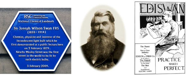 Blue plaque from the Literary and Philosophical Society of Newcastle; Joseph Swan; poster for Ediswan