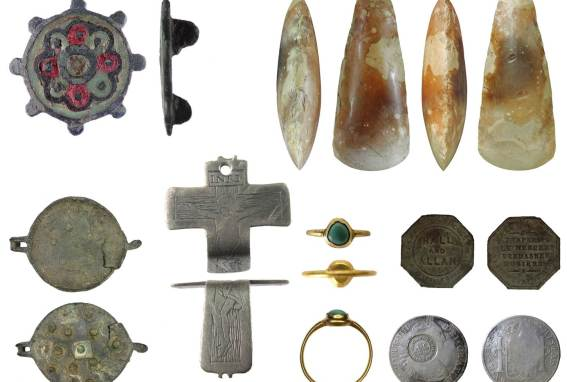 Image of seven archaeological finds founds in Derbyshire.