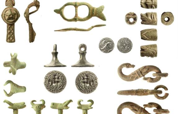 Image of seven archaeological finds discovered in the Isle of Wight.