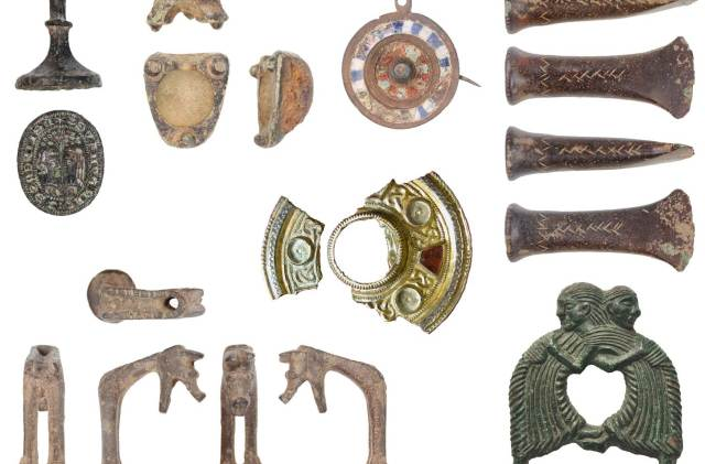 Image of seven archaeological objects found in Kent.
