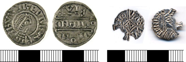 Coins of Burgred (LON-61D165) and Ceolwulf (BUC-08EE42), kings of Mercia.