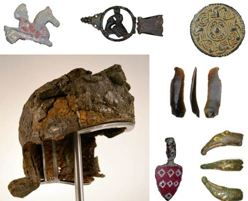 Image of seven archaeological finds found in Leicestershire.