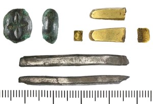 Ingots of copper alloy, gold and silver from the Torksey area (YORYM-420D6D, DENO-938F91 and DENO-705A57). The Vikings used bullion, such as these ingots, as well as coins.