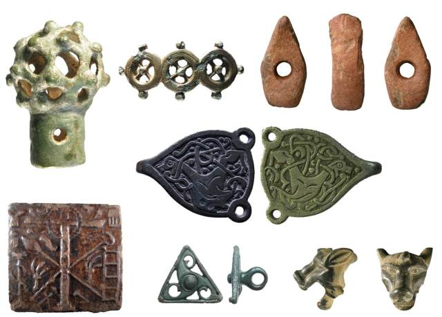 Image of seven archaeological finds from Shropshire.