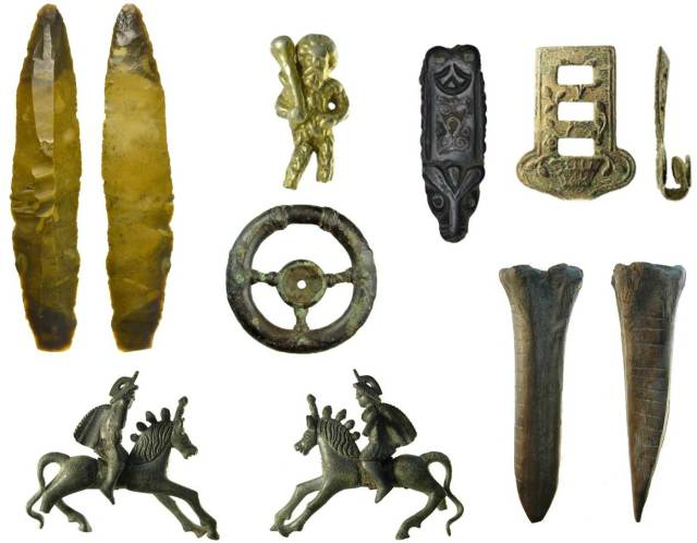 Image of seven archaeological finds from Suffolk.