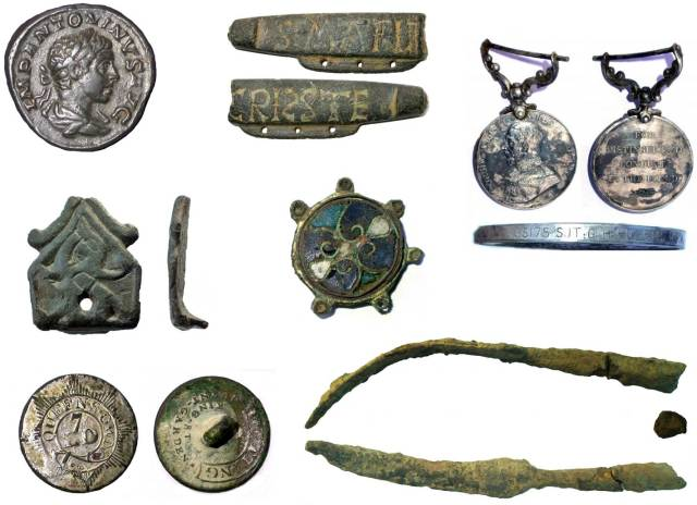 Image of seven archaeological finds from Surrey.