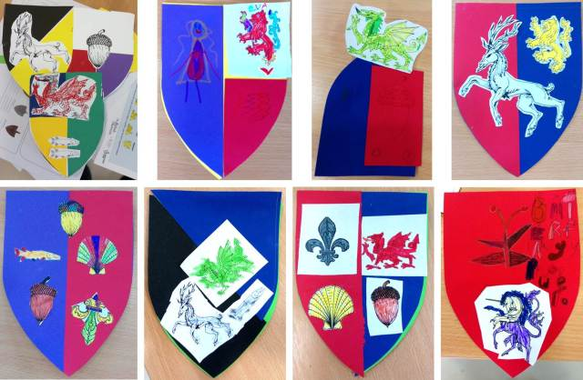 Eight brightly coloured paper shields arranged in two rows of four, one above the other. Each shield has the image of a plant or animal on it.