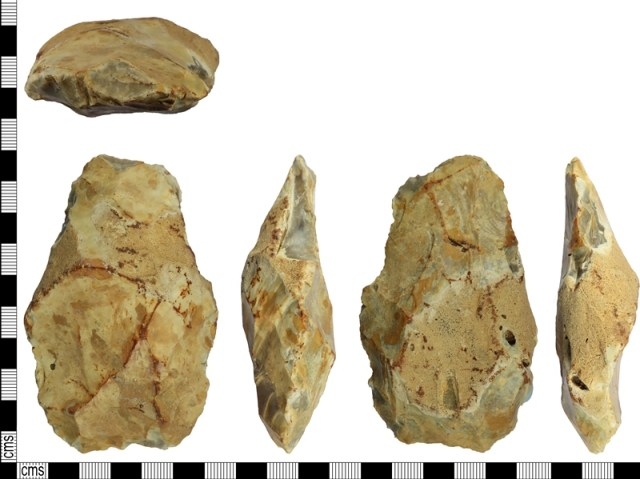 Image five views of a flint handaxe, arranged left to right.