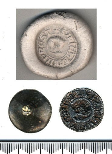 Image showing a circular seal matrix engraved with a sleeping lion curled up and facing left. A circle of inverse lettering surrounds the lion. Above this image is a stamped impression of the seal.