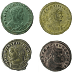 Arrangement of four coins depicting portraits of the four emperors of the Tetrarchy.
