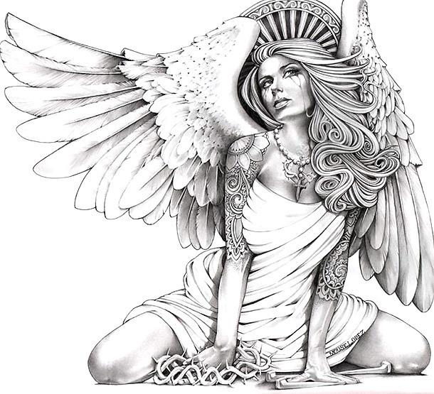 Horny Angel Tattoo Design