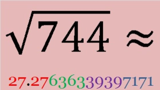 Square root 744