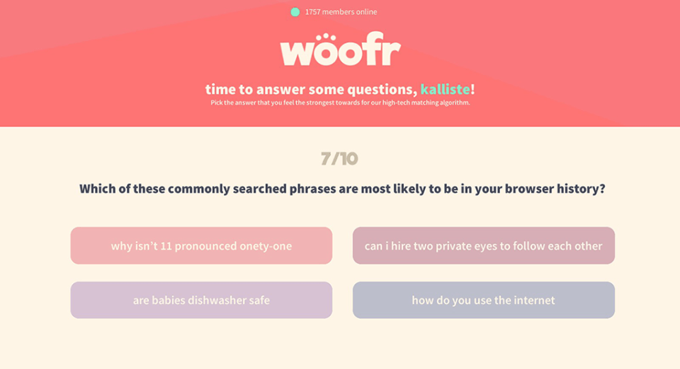 Best Friend Forever dating app Woofr profile questions