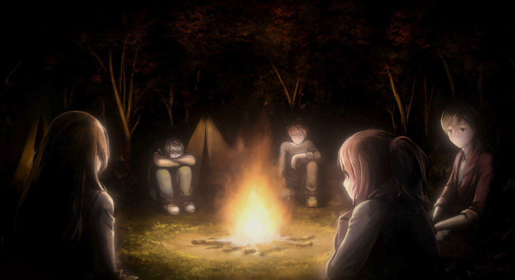 Re:Turn - Friends sitting around a campfire