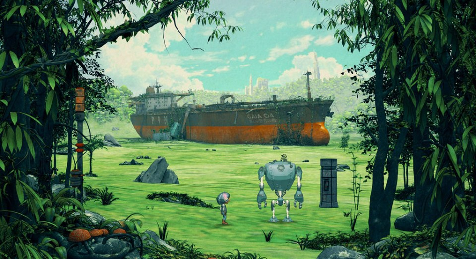 Tina and SAM-53 find a huge ship in a field