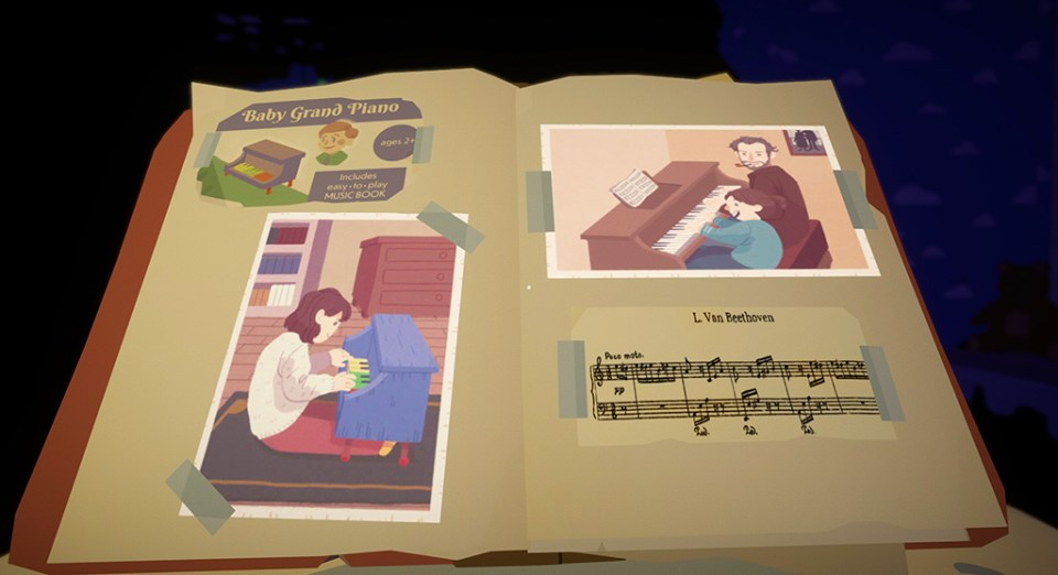 A photo book with photos of Benny's Mum playing piano as a child