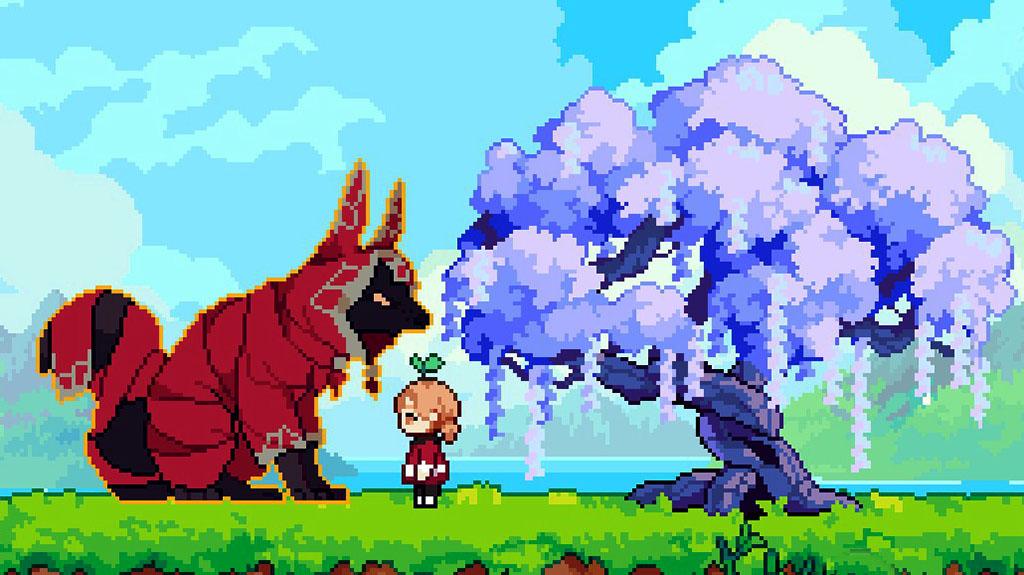 Cassie and Luna the fox spirit in Luna's Fishing Garden