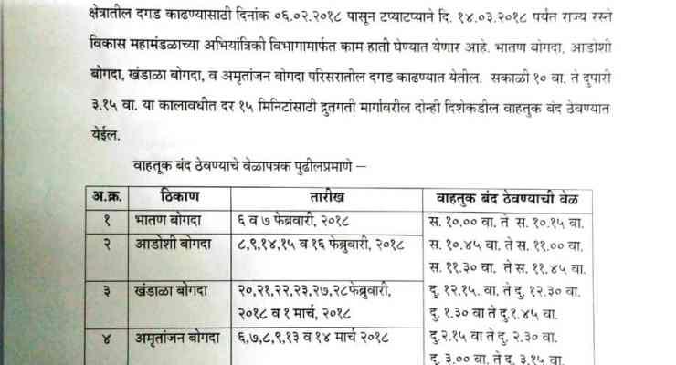 Mumbai - Pune expressway Closed Notification  6 Feb to 14 March 2018