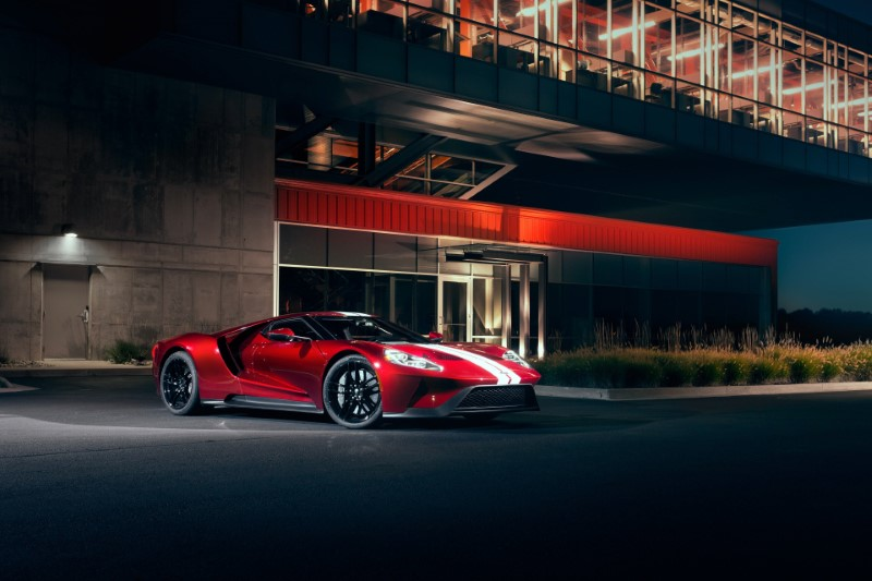 2020 Ford GT Red Color With White Line Strips