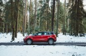 Red SUV For Snow Driving