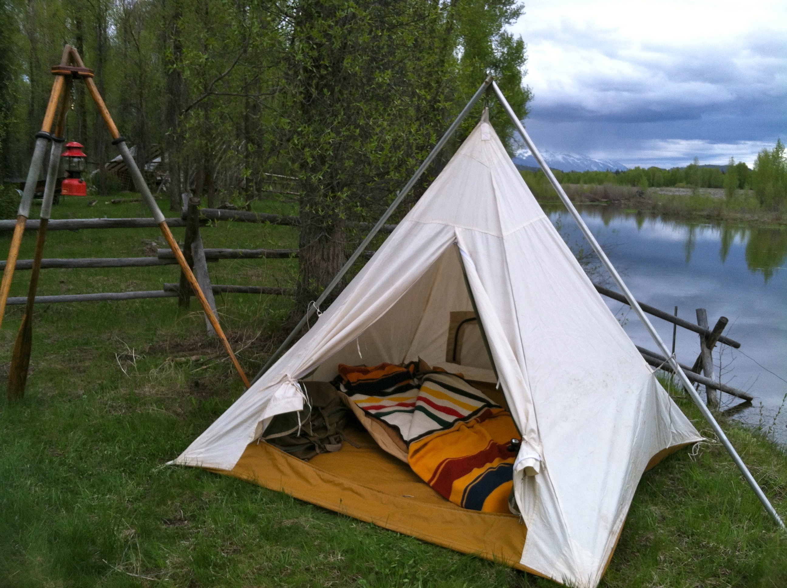 Image result for tent and fishing tools