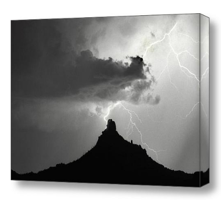 Pinnacle Peak Lightning  Strike BW Fine Art Print and Canvas Art