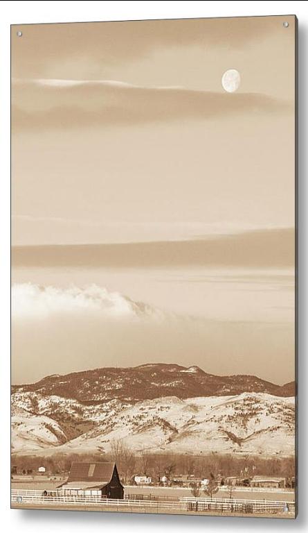 Boulder County Colorado Country Moon Acrylic Fine Art Print
