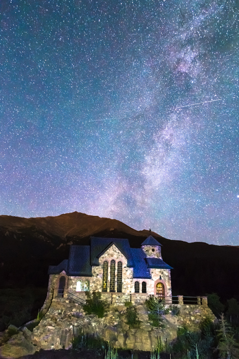 Perseid Meteor Shower and Chapel On The Rock wall art