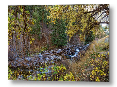 Boulder Creek Autumn View Metal Art Print