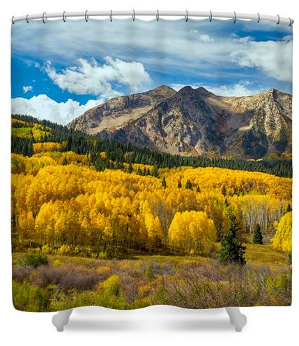 Colorado Rocky Mountain Fall Foliage Shower Curtain