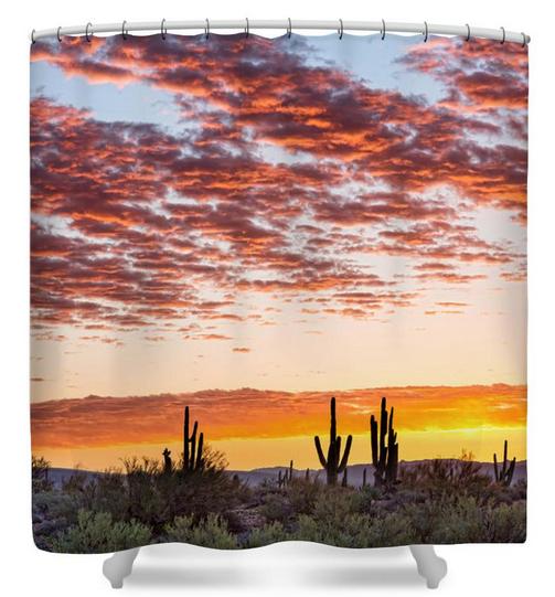 Colorful Sonoran Desert Sunrise Shower Curtain