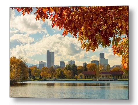 Denver Skyline Fall Foliage View Metal Print