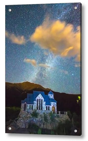 Chapel On The Rock Milky Way Sky Acrylic Print
