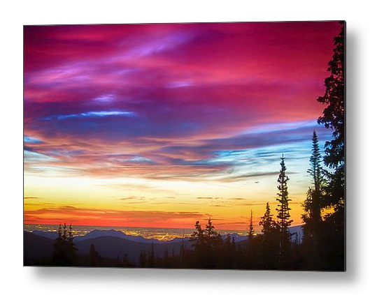 City Lights Sunrise View From Rollins Pass Metal Print