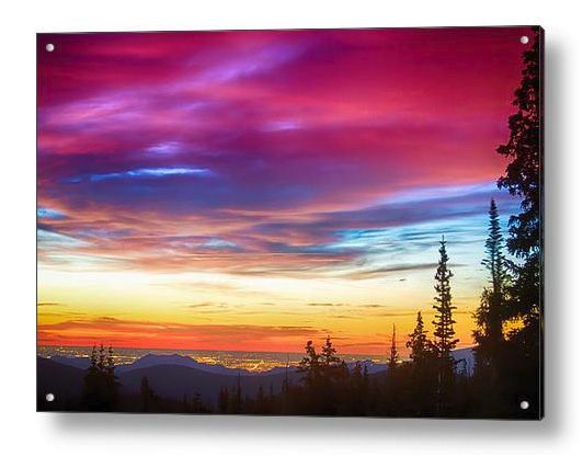 City Lights Sunrise View From Rollins Pass Acrylic Print