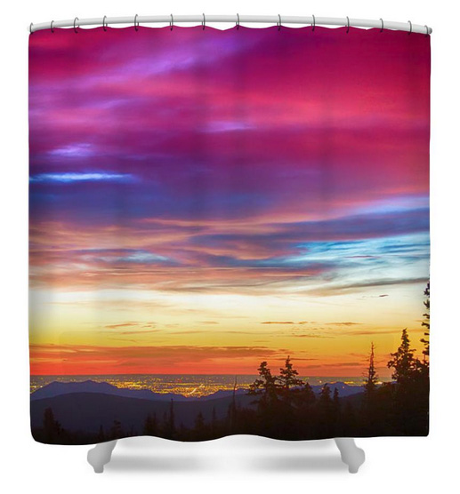 City Lights Sunrise View From Rollins Pass Shower Curtain