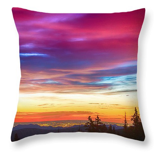 City Lights Sunrise View From Rollins Pass Throw Pillow