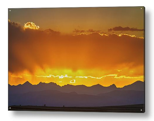 Colorado Rocky Mountains Golden September Sunset Sky Acrylic Pri