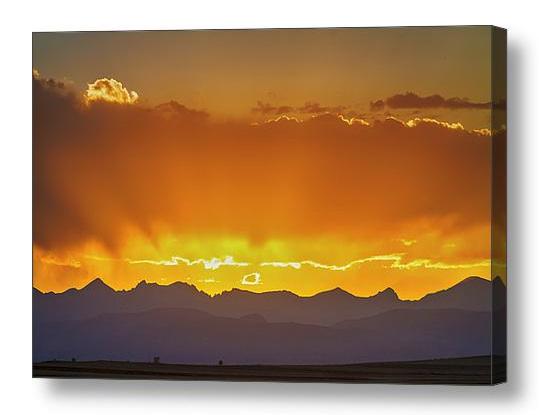 Colorado Rocky Mountains Golden September Sunset Sky Canvas Prin
