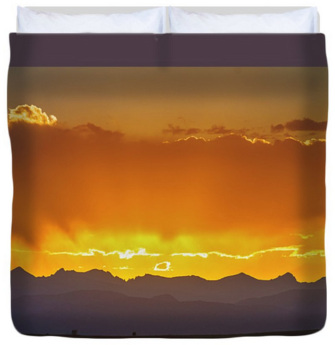 Colorado Rocky Mountains Golden September Sunset Sky King Duvet