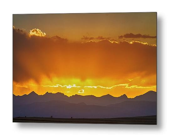 Colorado Rocky Mountains Golden September Sunset Sky Metal Print