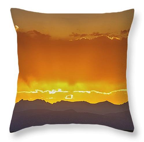 Colorado Rocky Mountains Golden September Sunset Sky Throw Pillo