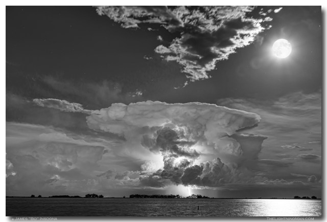 Mushroom Thunderstorm Cell Explosion and Full Moon BW