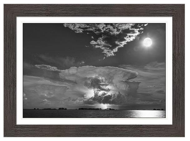 Mushroom Thunderstorm Cell Explosion And Full Moon Bw Framed Pri
